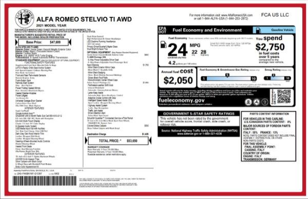 New 2021 Alfa Romeo Stelvio Ti for sale $53,650 at Maserati of Greenwich in Greenwich CT 06830 27