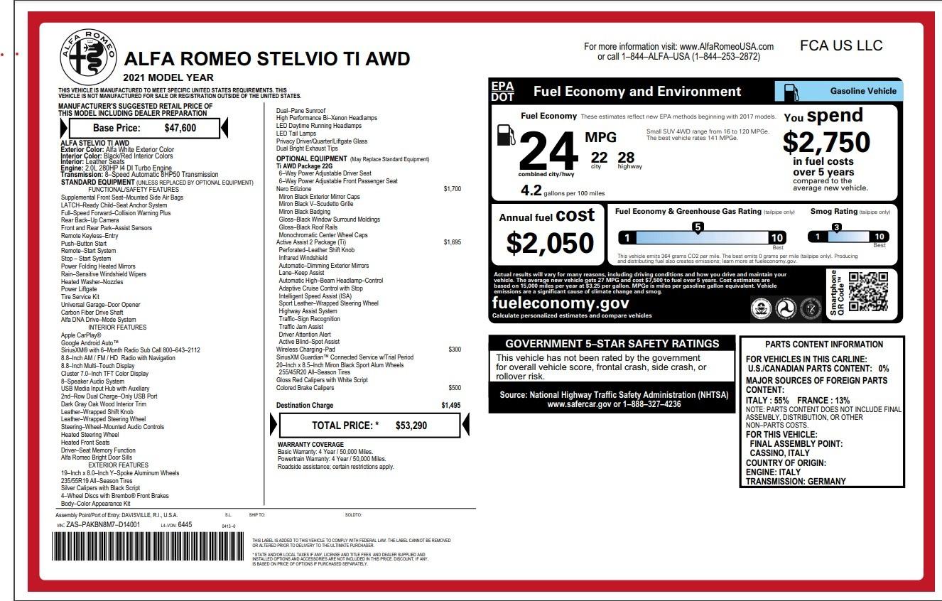 New 2021 Alfa Romeo Stelvio Ti for sale $53,290 at Maserati of Greenwich in Greenwich CT 06830 1