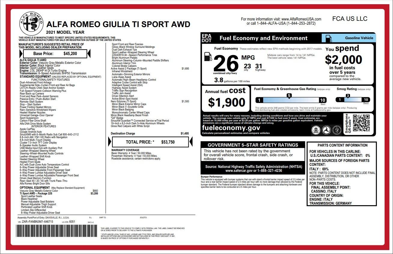 New 2021 Alfa Romeo Giulia Ti Sport for sale $53,750 at Maserati of Greenwich in Greenwich CT 06830 1