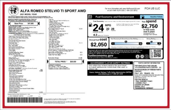 New 2021 Alfa Romeo Stelvio Ti Sport for sale Call for price at Maserati of Greenwich in Greenwich CT 06830 2