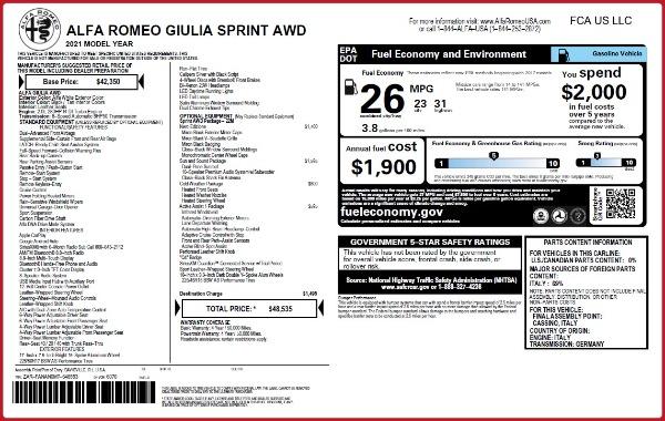 New 2021 Alfa Romeo Giulia Q4 for sale $48,535 at Maserati of Greenwich in Greenwich CT 06830 28