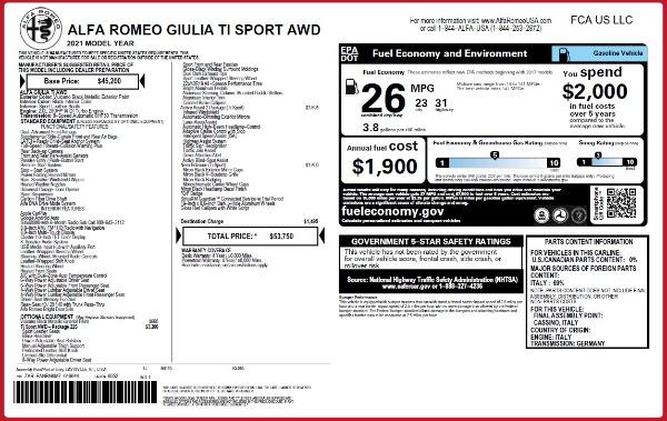 New 2021 Alfa Romeo Giulia Ti Sport Q4 for sale Sold at Maserati of Greenwich in Greenwich CT 06830 26