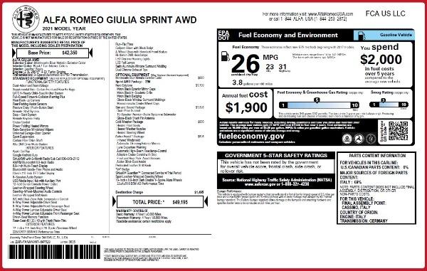 New 2021 Alfa Romeo Giulia Q4 for sale $49,195 at Maserati of Greenwich in Greenwich CT 06830 2
