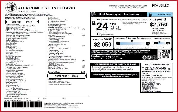New 2021 Alfa Romeo Stelvio Ti Q4 for sale $55,505 at Maserati of Greenwich in Greenwich CT 06830 2