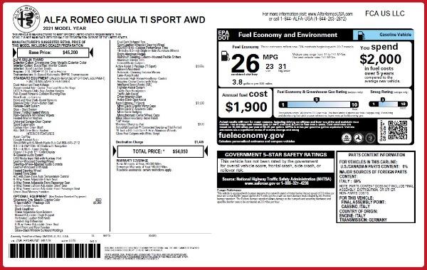New 2021 Alfa Romeo Giulia Ti Sport Q4 for sale $54,050 at Maserati of Greenwich in Greenwich CT 06830 2