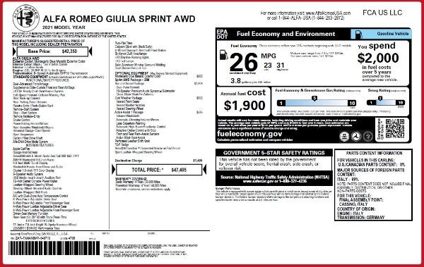 New 2021 Alfa Romeo Giulia Q4 for sale Sold at Maserati of Greenwich in Greenwich CT 06830 23