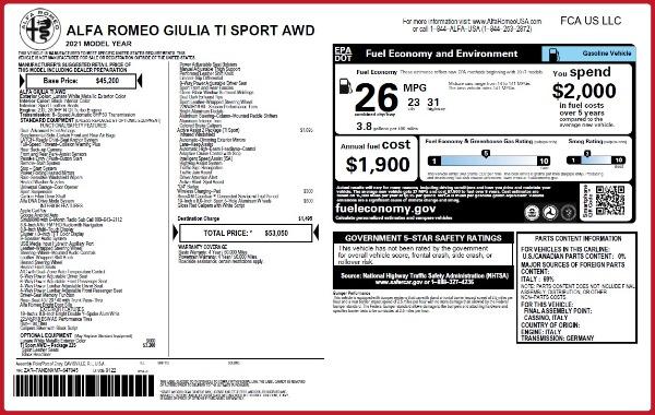 New 2021 Alfa Romeo Giulia Ti Sport Q4 for sale $53,050 at Maserati of Greenwich in Greenwich CT 06830 22