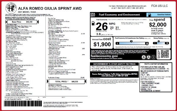 New 2021 Alfa Romeo Giulia Q4 for sale $48,535 at Maserati of Greenwich in Greenwich CT 06830 2