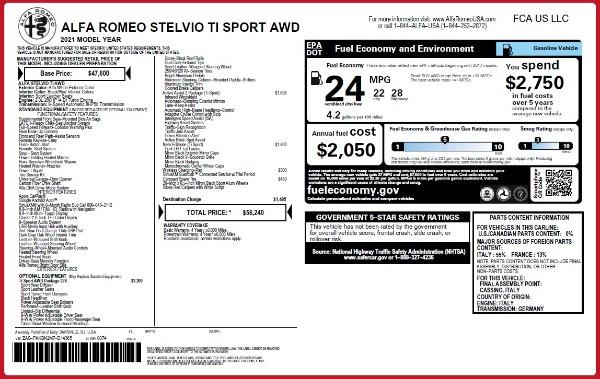 New 2021 Alfa Romeo Stelvio Ti Sport Q4 for sale $56,240 at Maserati of Greenwich in Greenwich CT 06830 2