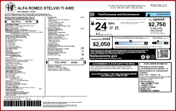 New 2021 Alfa Romeo Stelvio Ti Q4 for sale $56,800 at Maserati of Greenwich in Greenwich CT 06830 2