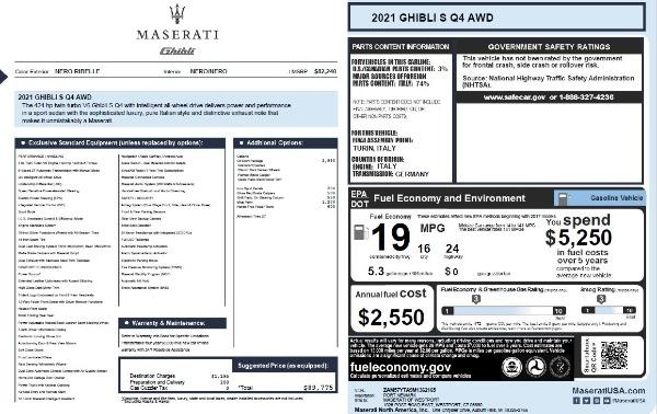 New 2021 Maserati Ghibli S Q4 for sale $89,775 at Maserati of Greenwich in Greenwich CT 06830 2