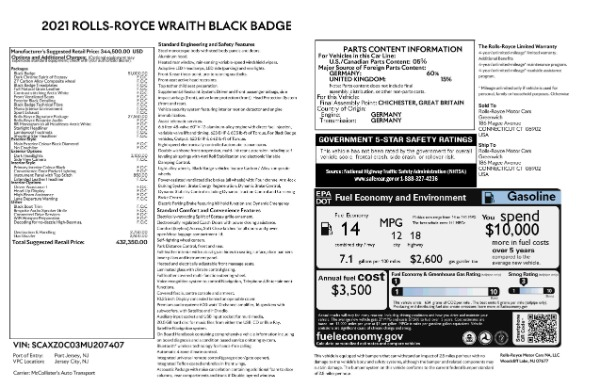 New 2021 Rolls-Royce Wraith Black Badge for sale Call for price at Maserati of Greenwich in Greenwich CT 06830 9