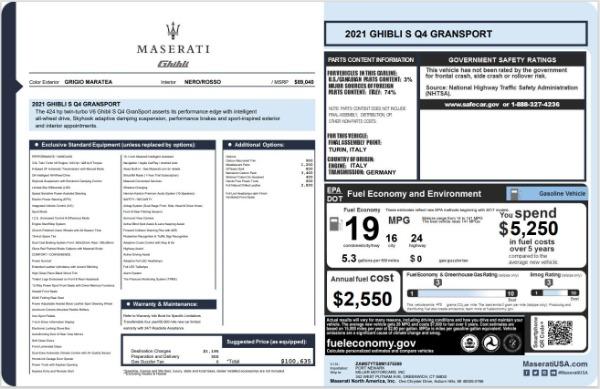 New 2021 Maserati Ghibli S Q4 GranSport for sale $100,635 at Maserati of Greenwich in Greenwich CT 06830 20