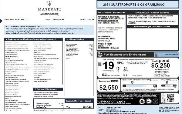 New 2021 Maserati Quattroporte S Q4 GranLusso for sale $129,135 at Maserati of Greenwich in Greenwich CT 06830 27