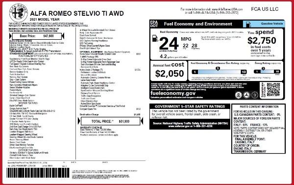 New 2021 Alfa Romeo Stelvio Ti Q4 for sale $51,900 at Maserati of Greenwich in Greenwich CT 06830 2