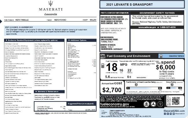 New 2021 Maserati Levante S Q4 GranSport for sale $105,849 at Maserati of Greenwich in Greenwich CT 06830 2