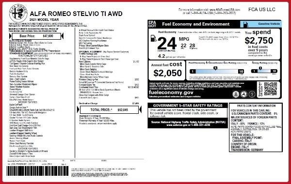 New 2021 Alfa Romeo Stelvio Ti Q4 for sale $52,045 at Maserati of Greenwich in Greenwich CT 06830 2