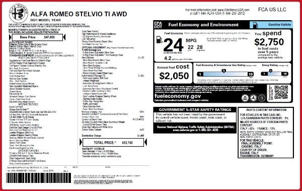 New 2021 Alfa Romeo Stelvio Ti Q4 for sale $53,740 at Maserati of Greenwich in Greenwich CT 06830 2