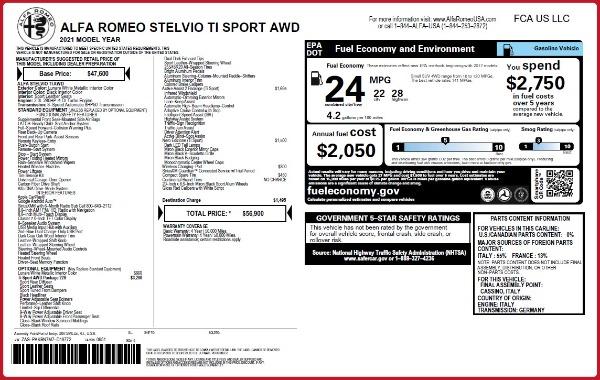New 2021 Alfa Romeo Stelvio Ti Sport Q4 for sale Sold at Maserati of Greenwich in Greenwich CT 06830 24