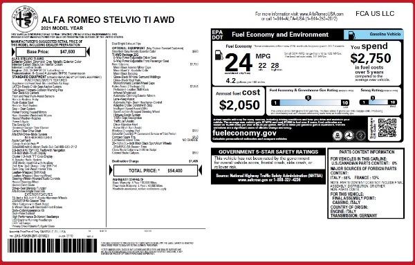 New 2021 Alfa Romeo Stelvio Ti Q4 for sale $54,400 at Maserati of Greenwich in Greenwich CT 06830 26
