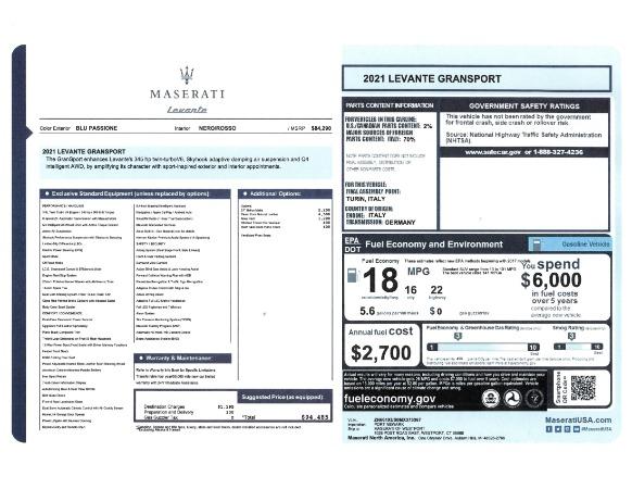 New 2021 Maserati Levante GranSport for sale Call for price at Maserati of Greenwich in Greenwich CT 06830 23