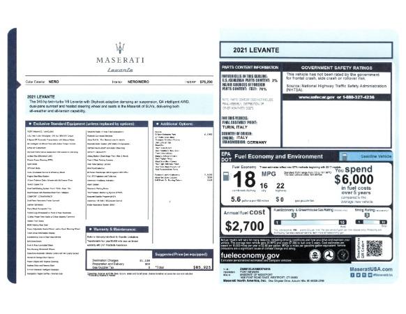 New 2021 Maserati Levante for sale Sold at Maserati of Greenwich in Greenwich CT 06830 2