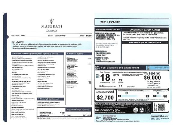 New 2021 Maserati Levante for sale $87,625 at Maserati of Greenwich in Greenwich CT 06830 2
