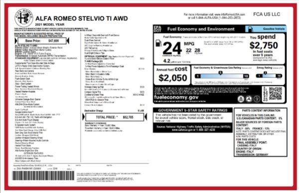 New 2021 Alfa Romeo Stelvio Ti for sale Sold at Maserati of Greenwich in Greenwich CT 06830 2