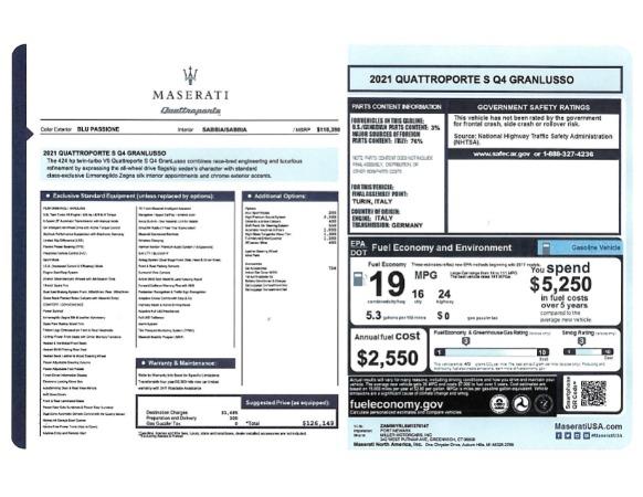 New 2021 Maserati Quattroporte S Q4 GranLusso for sale $126,149 at Maserati of Greenwich in Greenwich CT 06830 24