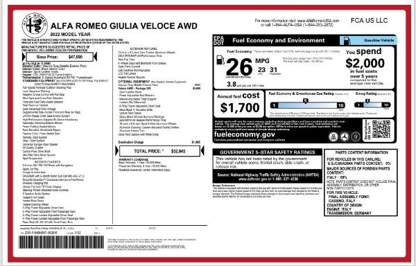 New 2022 Alfa Romeo Giulia Veloce for sale $52,845 at Maserati of Greenwich in Greenwich CT 06830 24