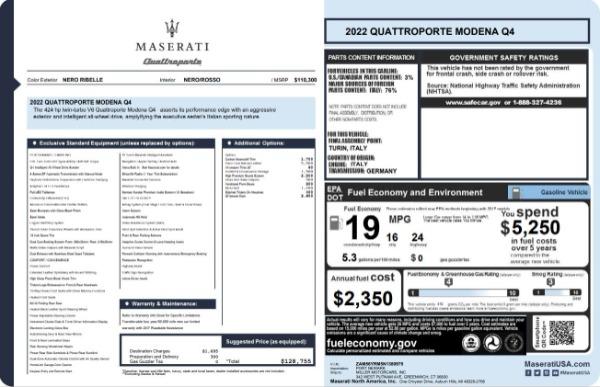 New 2022 Maserati Quattroporte Modena Q4 for sale $128,775 at Maserati of Greenwich in Greenwich CT 06830 23