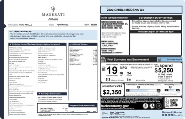 New 2022 Maserati Ghibli Modena Q4 for sale $103,855 at Maserati of Greenwich in Greenwich CT 06830 19