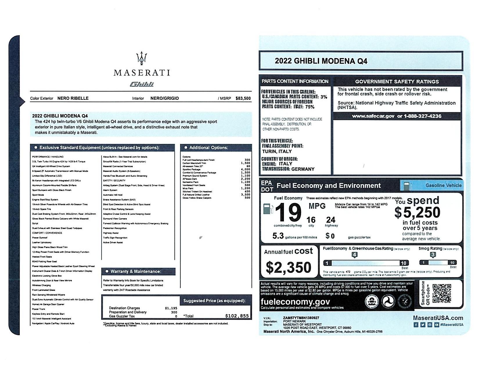 New 2022 Maserati Ghibli Modena Q4 for sale $102,855 at Maserati of Greenwich in Greenwich CT 06830 1