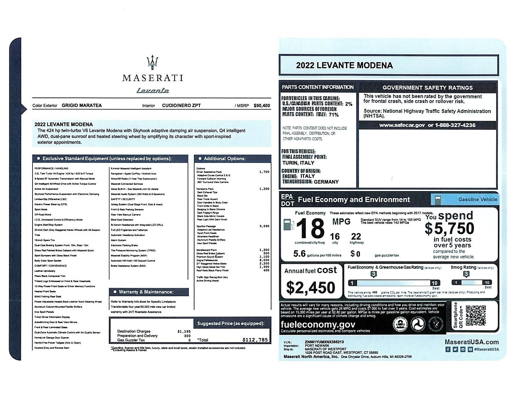 New 2022 Maserati Levante Modena for sale $112,785 at Maserati of Greenwich in Greenwich CT 06830 1